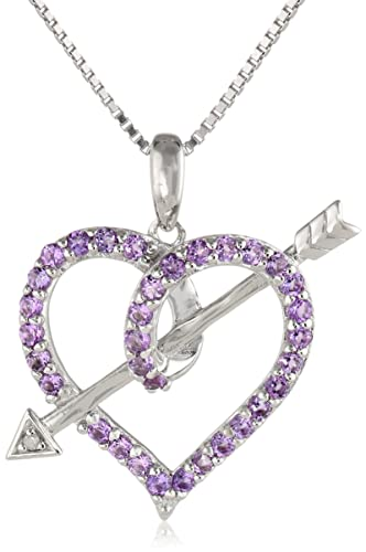 Sterling-Silver-Amethyst-and-Diamond-Accented-Love-s-Arrow-Pendant-Necklace-18-