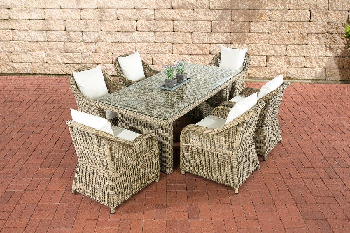 CLP Polyrattan Sitzgruppe LAVELLO natura, 6 Sessel inkl. Polster + Tisch 180 x 90 cm, Premiumqualität: 5 mm Rund-Rattan natura, Bezugfarbe creme jetzt kaufen