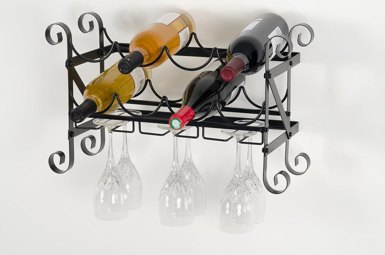 NEW Wall Mount 8 Wine Bottle 6 Glass Rack, Metal Storage