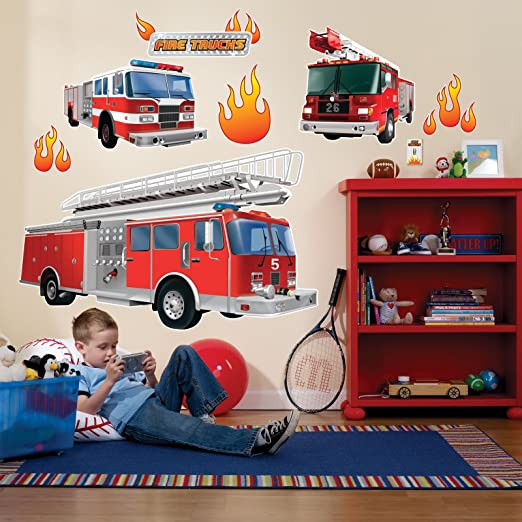Fire Trucks Giant Wall Decals