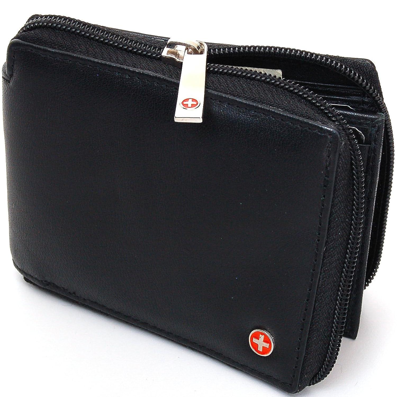 Mens Zip Around Bifold Wallet Safe By Alpine Swiss Secure Zipper Genuine Leather mens batman logo badge bifold wallet dft 1327