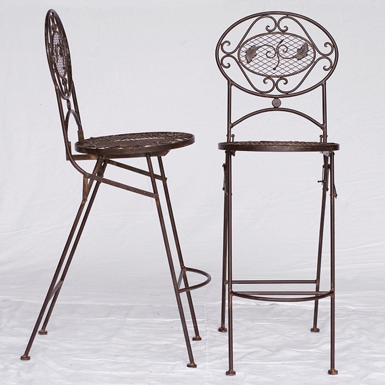 Barstühle Gartenmöbel Metall Bistromöbel Set braun 2 hohe Bar Stühle Küchenbar bestellen