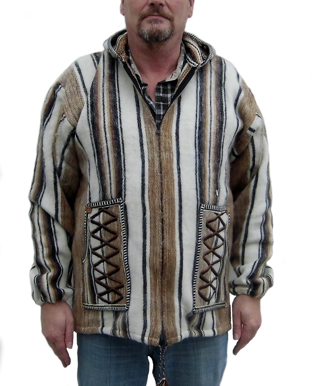 Alpacaandmore Peruanische Herren Kapuzen Jacke Herrenjacke Mantastoff