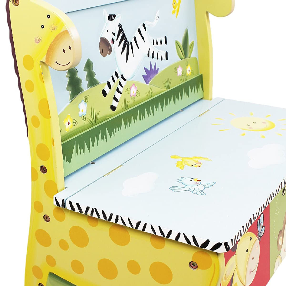 Fantasy Fields - Sunny Safari Animals Thematic Kids Storage Bench| Imagination Inspiring Hand Crafted & Hand Painted Details Non-Toxic, Lead Free Water-based Paint