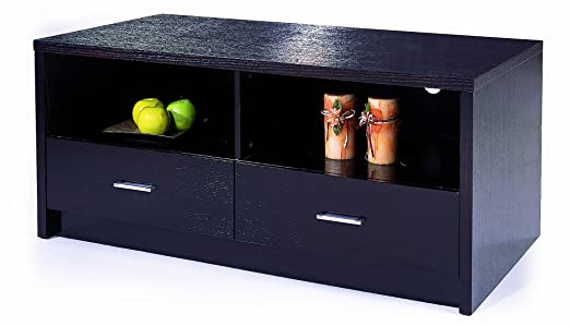 BH Design Oak Veneer TV Stand with Drawers, Espresso Finish