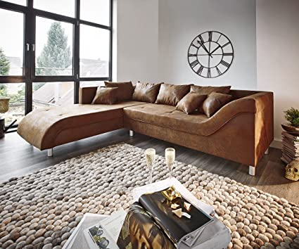 Couch Cadiz Braun 261x204 Antik Optik gerundete Form mit Keder Ecksofa
