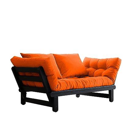 Fresh Futon Beat Convertible Futon Sofa/Bed, Black Frame, Orange Mattress