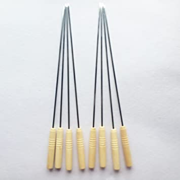 CHA 8 Pcs - MS Skewers Wood handle for Tandoor - barbeque -16 Inches -Rod/ Saliya (16 IN) (16 IN)