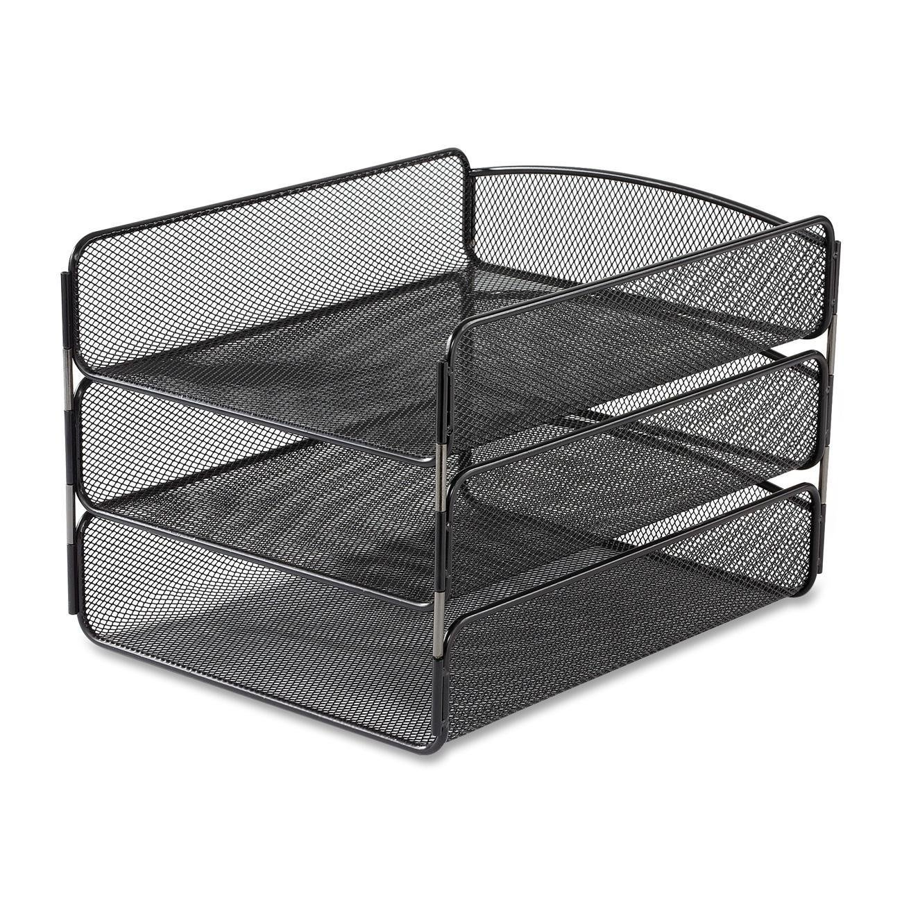 Safco desk organizer triple tray mesh storage office desk - Safco mesh desk organizer ...