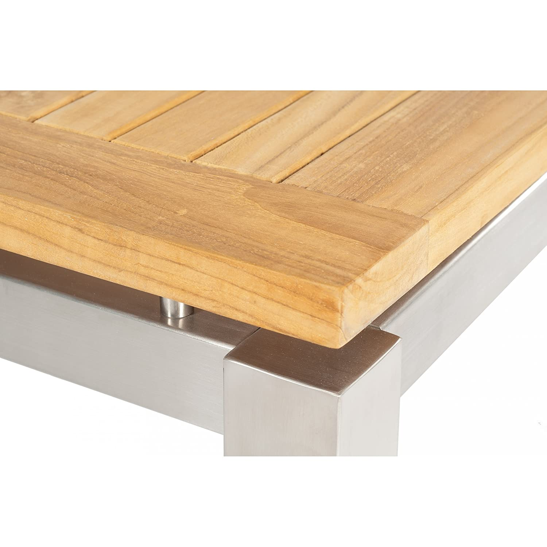 Sonnenpartner Gartentisch System Base/Pure Aluminium/Teakholz natur 90 x 90 cm