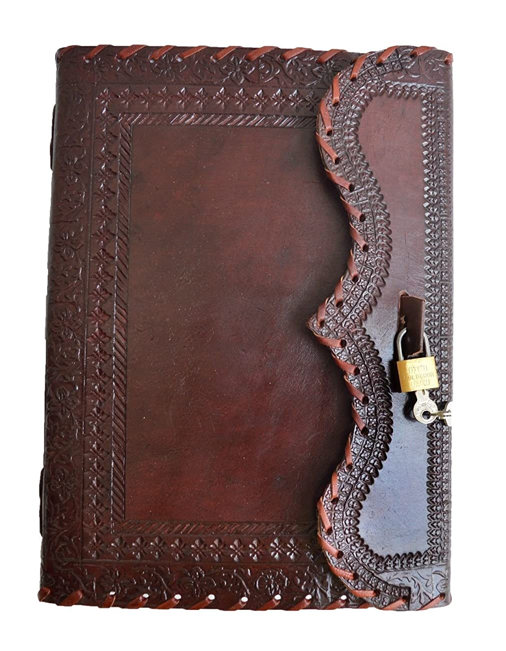 Genuine Leather Journal Vintage Antique Style Organizer Blank Notebook Secret Diary Daily Journal Personal Diary - Maroon 0