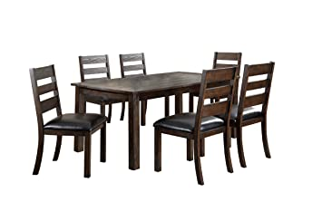 Furniture of America Evinson 7-Piece Dining Table Set with Natural Wood Grain, Dark Walnut Finish