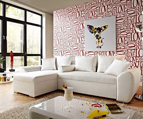 Couch Rudy Weiss 260x160 mit Schlaffunktion Ottomane variabel Ecksofa