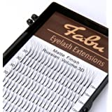 Fabu Eyelash Extensions Russian Volume 3D Fans, Thickness/Diameter 0.10, D curl, one length per tray 8mm | 9mm | 10mm | 11mm | 12mm | 13mm | 14mm | 15mm | 16mm (15mm) (Color: Black, Tamaño: 15mm)