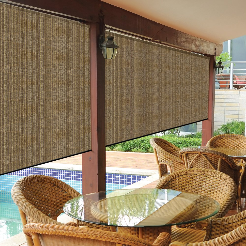 Coolaroo cordless exterior roller shade 8 x8 walnut new Cordless exterior sun shades