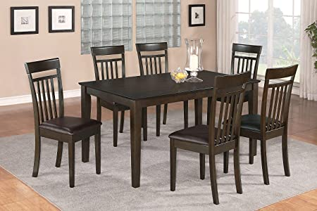 East West Furniture CAP7S-CAP-LC 7-Piece Dining Room Table