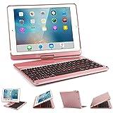 iPad 9.7 Keyboard Case, SENGBIRCH 7 Colors Backlit Bluetooth Keyboard Case Folio Smart 360 Rotate Stand Cover for iPad Air, iPad Air 2, iPad pro 9.7, iPad 9.7 2017 Tablet, Rose Gold