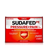Sudafed PE Pressure + Pain + Relief for Sinus Pressure and Nasal Congestion, Non-Drowsy, 24 ct (Color: 1, Tamaño: 24 Count)