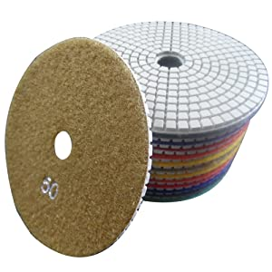 Konfor Professional Grade Diamond Polishing Pads 5 inch Wet 7 Piece Set Granite Stone Concrete Marble