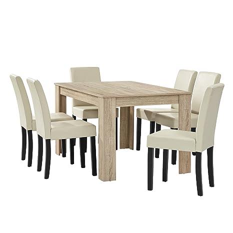 [en.casa] Esstisch Eiche hell mit 6 Stuhlen creme Kunstleder gepolstert 140x90 Essgruppe Esszimmer