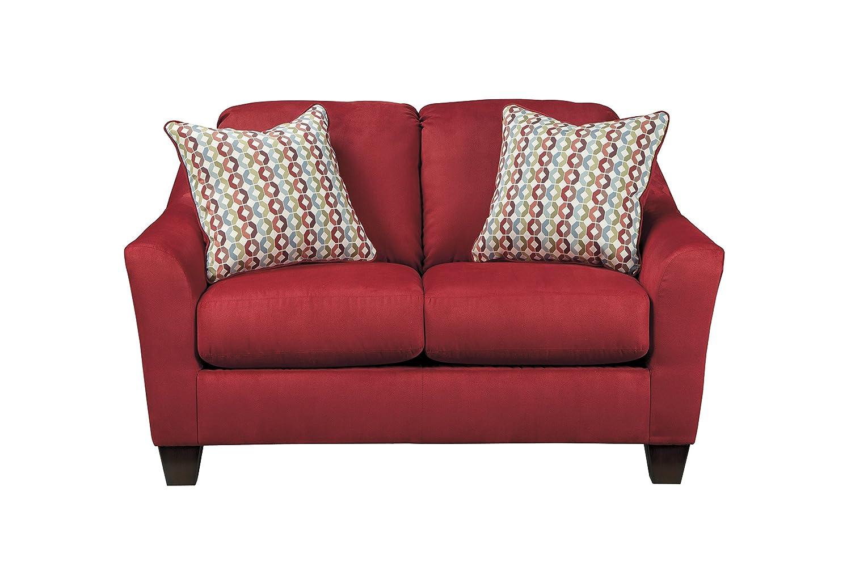 Hannin Contemporary Red Fabric Loveseat
