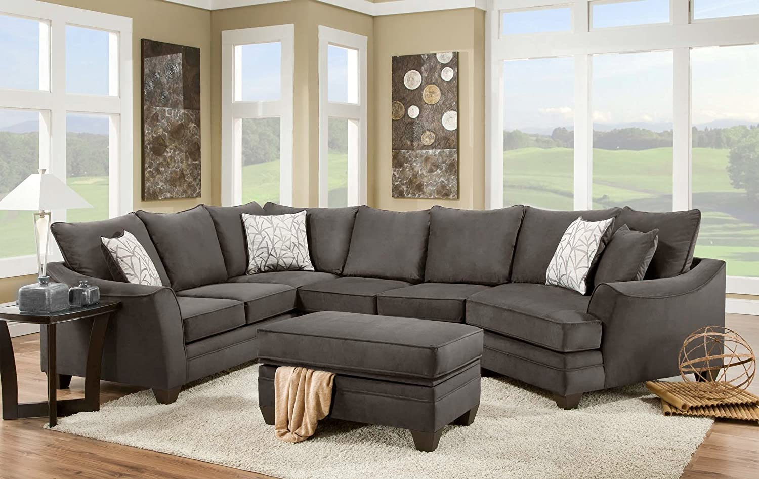 Chelsea Home Furniture Cupertino 3-Piece Sectional - Flannel Seal