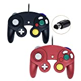Wired Controller For Gamecube Game Cube, Classic Ngc Gamepad Joystick For Wii Nintendo Console (Black and Red,Pack Of 2) (Color: Black and Red)