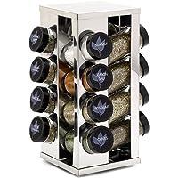 Kamenstein 16 Jar Filled Heritage Stainless Steel Spice Rack