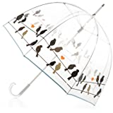 totes Signature Bubble Umbrella - Manual Open, One Size - Birds on a Wire (Color: Birds on a Wire, Tamaño: One Size)