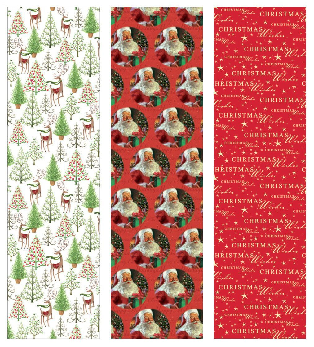 Premium Christmas Gift Wrap Timeless Traditional HEAVEY WEIGHT THICK Wrapping Paper for Men, Women, Boys, Girls, 3 Different 15 Ft X 40 in Rolls Included Xmas Trees, Reindeer, Santa, Christmas Wishes 0
