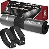 Gladiator Strength Barbell Squat Pad– 17.5'' Extra Thick Barbell Pad/Squat Sponge for Lunges, Hip Thrusts & More for 2'' Olympic & Smith Machine Bars-Bonus Straps Included (Color: Black, Tamaño: standard)