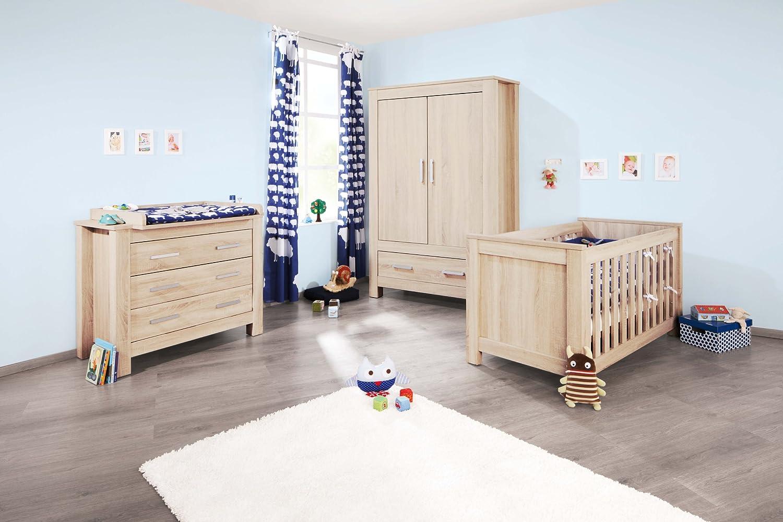 Pinolino Kinderzimmer Carus breit, 3-teilig, Kinderbett (140 x 70 cm), breite Wickelkommode mit Wickelaufsatz und Kleiderschrank, Eiche mit Echtholzstruktur (Art.-Nr. 10 00 18 B) günstig