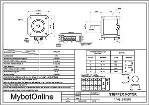 MybotOnline Nema 17 Stepper Motor Bipolar 42mm 1.8deg 62oz-in 1.7A 4-lead Full D-cut Shaft for 3D Printer CNC Reprap
