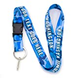 Buttonsmith Blue Camo Custom Lanyard - Customize with Your Text - Buckle and Flat Ring - Made in The USA (Color: Blue Camo, Tamaño: Custom)