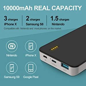 GETIHU USB C Portable Charger, 10000mAh PD/QC3.0 Power Bank, 18W Fast Charge Battery Pack with Type C Input&Ouput Compatible with iPhone XS X 8 Plus Nintendo Switch Samsung Galaxy S9 Pixel Tablet etc. (Color: Black)