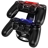 PowerBear PS4 Controller Charger Station for 2 Remotes with Micro USB Cable (Color: Black, Tamaño: 2)