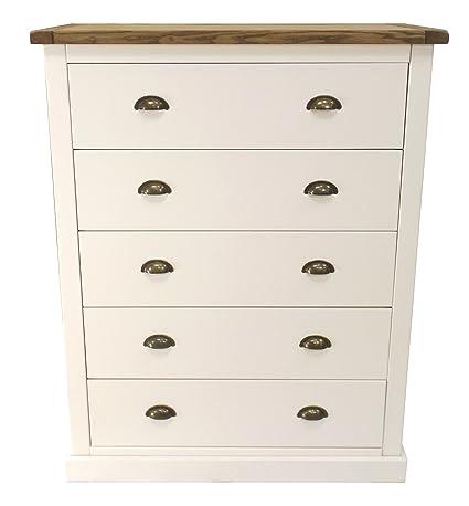 """Puntas para tornillos de armario """"Flores""""–Cómoda de 5cajones (con mango de latón/cuadrado falda, madera, color blanco"""