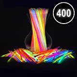 "Glow Sticks Bulk Party Favors 400pk - 8"" Glow in The Dark Party Supplies, Light Sticks Neon Party Glow Necklaces and Bracelets for Kids or Adults (Tamaño: 400 Count)"