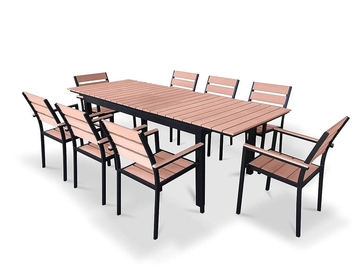 UrbanFurnishing.net - 9 Piece Eco-Wood Extendable Outdoor Patio Dining Set