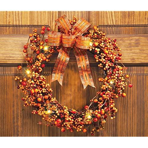 Lighted Berries Plaid Bow Harvest Thanksgiving Wreath Wall Door Decor