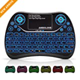 Mini Wireless Keyboard, Remote Keyboard with Multimedia Keys, 2.4GHZ USB Rechargable Android Remote for TV Box, Mini Keyboard for Smart TV,IPTV,PS4,PC (Color: COLOR backlit)