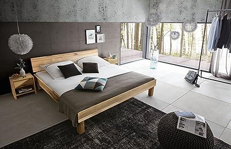 Holzbett Campino 90 x 200 cm modernes Vollholzbett massiv aus Wildeiche geölt geschlossenes Kopfteil