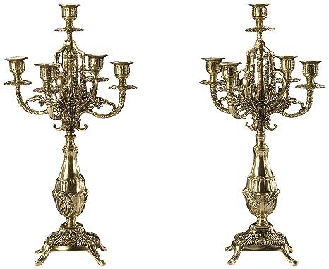 Virtus Rojas - Pareja de candelabros fabricados en bronce, 46 x 19 cm