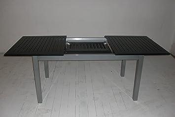 voll aluminium gartentisch 150 210 x 90 cm mit synchronauszug von doppler silber schwarz. Black Bedroom Furniture Sets. Home Design Ideas