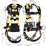 WELKFORDER 3D-Rings Industrial Fall Protection Safety Harness With Waist Tounge Buckle | Leg Tounge Buckles | Waist & Shoulder Pad Support ANSI Certified Full Body Personal Protection Equipment (Color: Tounge Buckles, Tamaño: 3D-Rings Harness)