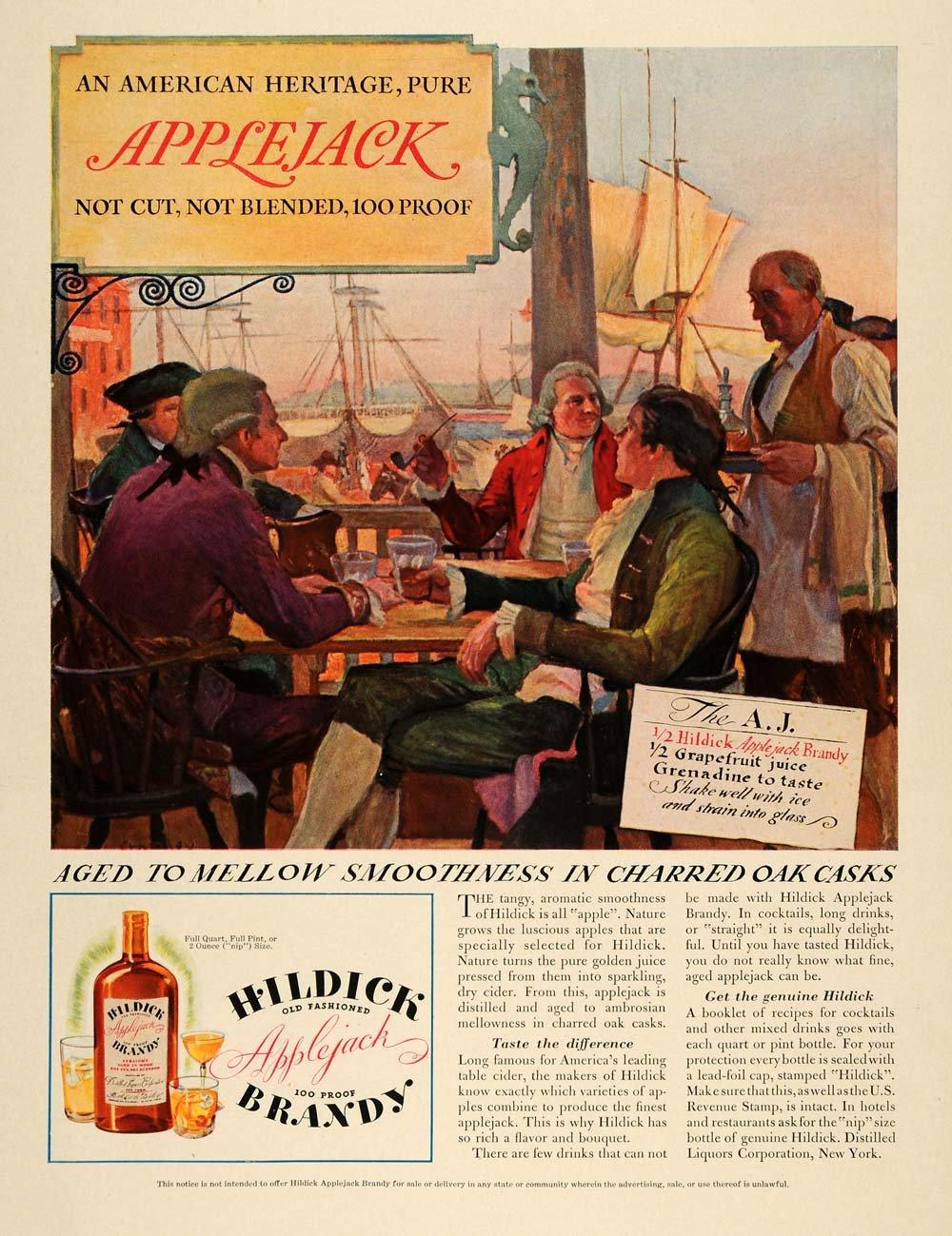1934 Ad Hildick Applejack Brandy advertisement