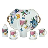 Miniature Collectible BUTTERFLIES & FLOWERS Porcelain Tea Set: Teapot, Sugar Bowl, Creamer, 2 Teacups, Serving Platter