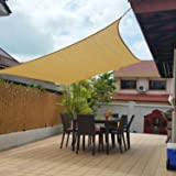 Belle Dura 10' x 13' Sun Shade Sails Canopy Rectangle Sand, 185GSM Shade Sail UV Block for Patio Garden Outdoor Facility and Activities
