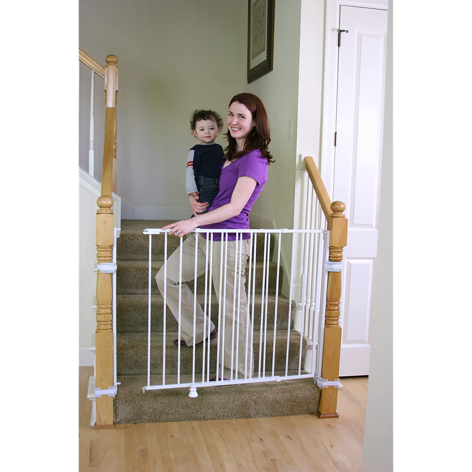 Regalo 1235 Top of Stairs Gate Extra Tall Metal Stepover Expandable Safety Gate - White at Sears.com
