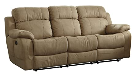 Homelegance 9724TPE-3 Transitional Textured  Bonded Leather Reclining Sofa with Center Drop Down Cup Holder, Taupe